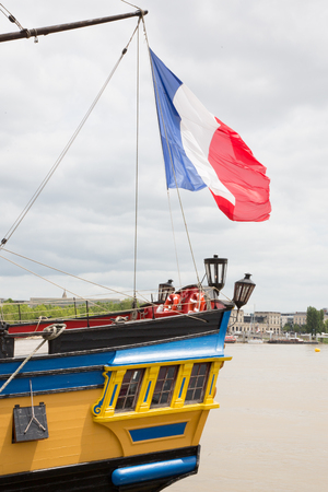 Outdoor view of the french vessel replica ship ancient famous boat