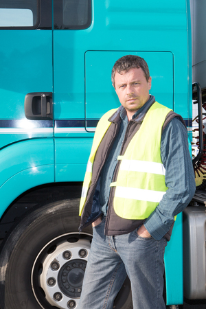 transportation man truck driver portrait outdoor Stock Photo