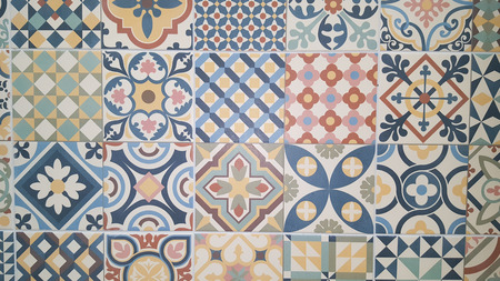 Azulejo Seamless colorful patchwork tile with Islam Arabic Indian ottoman motifs