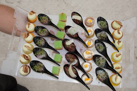 small appetizers in a dish during a party Stockfoto