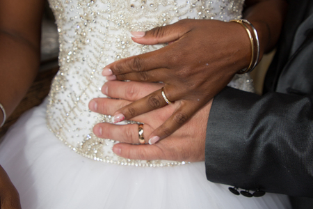 african black bride hand and caucasian rings wedding