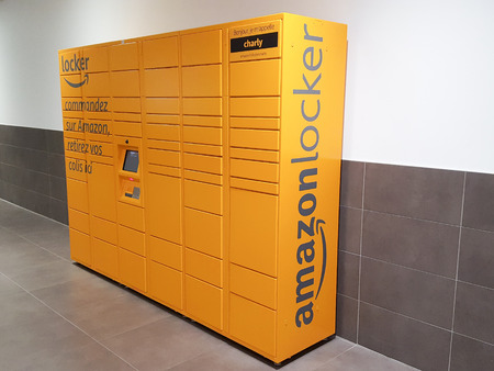 Bordeaux. Gironde / France - 10-26-2018 :  Amazon Locker Delivery Store self-service delivery location to pick up and return Editorial