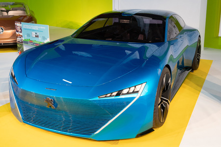 Paris, Ile de France / France - October 08 2018 : Mondial Paris Motor Show Peugeot INSTINCT concept car fully aware of its surroundings designed to offer complete peace of mind Stock Photo - 112424944