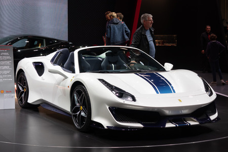 Paris, Ile de France / France - October 07 2018 : Mondial Ferrari 488 Spider Pista, Paris Motor Show 2018