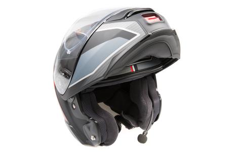 Black grey flip up modular touring helmet Isolated on white background