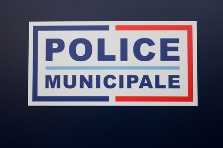 police municipale means in french Municipal police sign  of local police of town and city in France