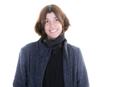 happy woman smiling forced in autumn winter jacket with copy space