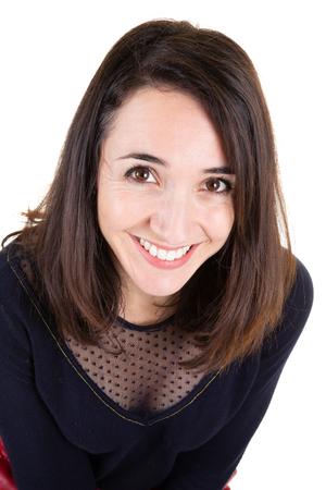 elegant businesswoman portrait smiling on white background