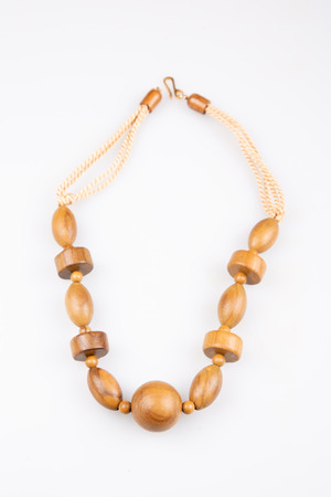 wood brown necklace fashion on white background