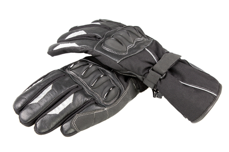two motorcycle gloves black for biker in white background