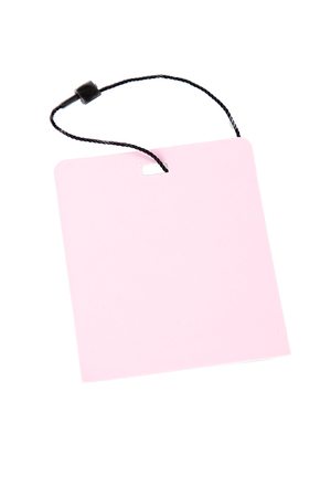 pink tag label isolated in white background