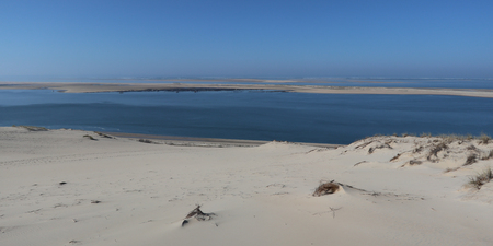 Panorama of the Pyla sand dune in Pilat Arcachon in France Stock Photo
