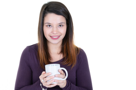 Pretty young woman with herbal tea in mug