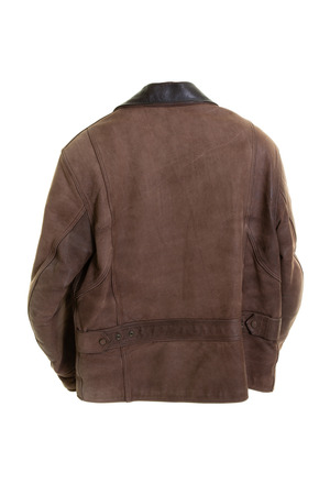 Classic brown used leather bikers jacket shot from rear back view Stock Photo