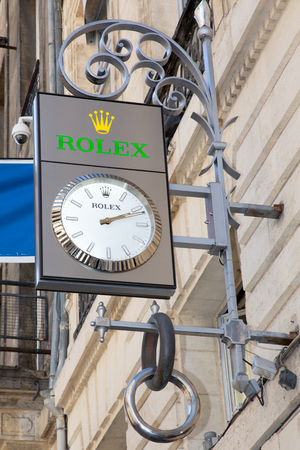 Bordeaux, Aquitaine  France - March 22 2019 :  Rolex SA is Swiss luxury watch manufacturer based in Geneva Switzerland - french shop sign