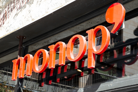 Bordeaux, Aquitaine / France - March 22 2019 : Monoprix with monop is a major French retail chain stores combine food retailing with hardware clothing household items and gifts