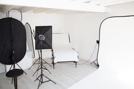 interior photo studio with photography lighting equipment Reklamní fotografie