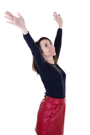 Beautiful young woman profile happy joyful elated woman