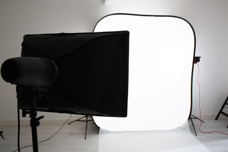Modern photo studio with professional equipment background 版權商用圖片