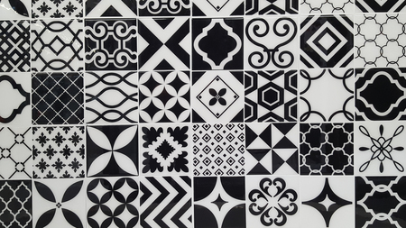 Vintage ceramic tile texture black and white Turkish ceramic tiles wall background Foto de archivo