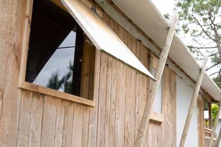 Wooden apartments open window in camping for holiday vacation