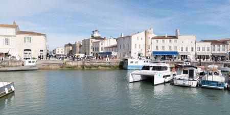 Saint Martin en Re - Ile de Re  Nouvelle Aquitaine / France - 05 02 2019 : Port at st martin ile de re france in web banner panorama template Redactioneel