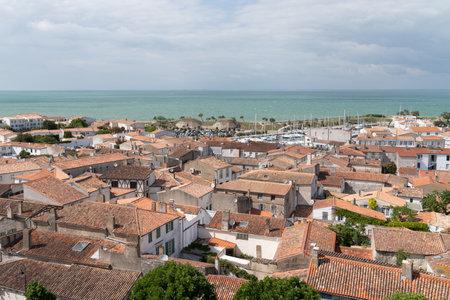 Saint Martin en Re - Ile de Re Nouvelle Aquitaine / France - 05 03 2019 : Aerial view of the saint Martin village Ile de Re France