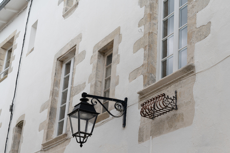 Outdoor vintage medieval style lights old street lamp on wall