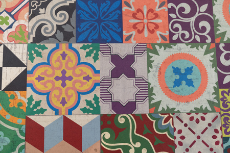 Traditional Portuguese glazed tiles south europa background Stock Photo