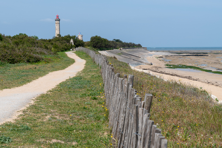 path alley view of Baleines lighthouse in Ile de Re France