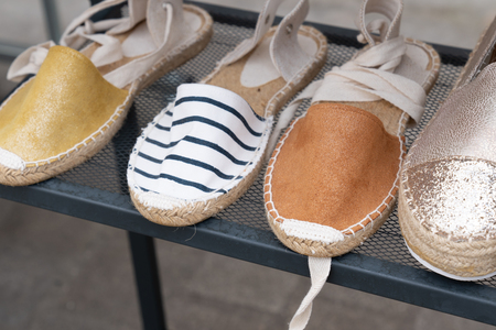 woman shoes sandal Basque country for sale in market shop Stock Photo - 124464500