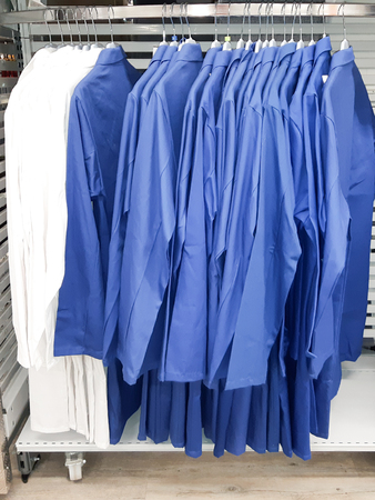 Medical uniform clothing on hunger in a shop