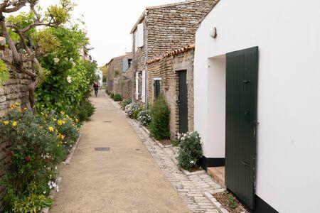 authentic cobblestone street in Saint Martin de Re France