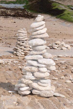 Spa stones balance on beach