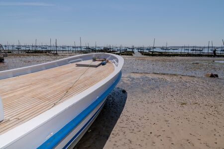 wood white blue Oyster boat at Cap Ferret in France
