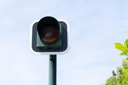 Traffic light sign road Orange Banque d'images