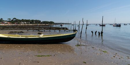wood vintage Oyster boat at arcachon in France web template panoramic header banner