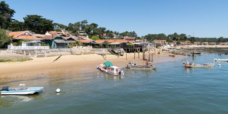 oyster village in Canon Cap Ferret in France in web template banner web