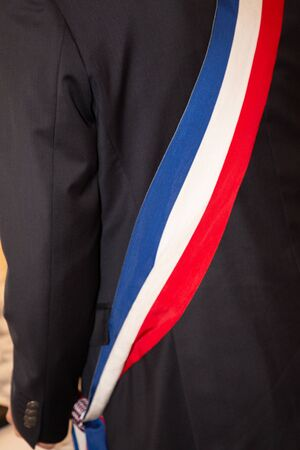 mayor man scarf during ceremony in france Stockfoto