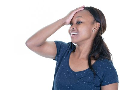 beautiful african african black skinned woman with strong headache on white background