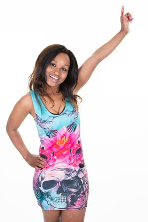 happy american african woman pointing up fingers hand and smiling on white background