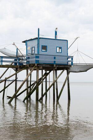 Cabane de pêcheurs carrés de l'embouchure de la Gironde à Fouras France Banque d'images