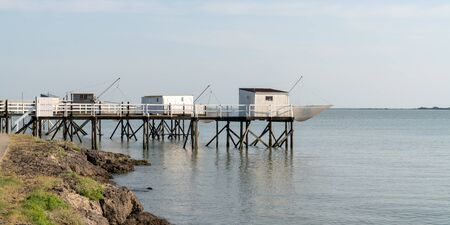 historic fishing huts on the Atlantic coast in Fouras village in web banner template Stock Photo