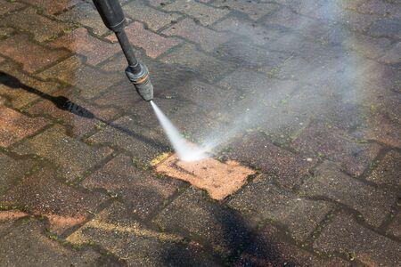 Outdoor floor clean driveway with pressure water jet