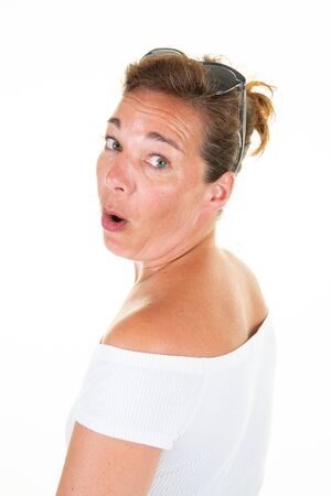 surprised woman middle aged face portrait in white background