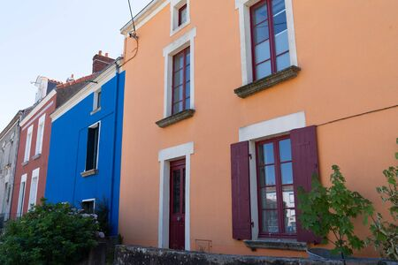 colorful houses in Trentemoult village in France Brittany
