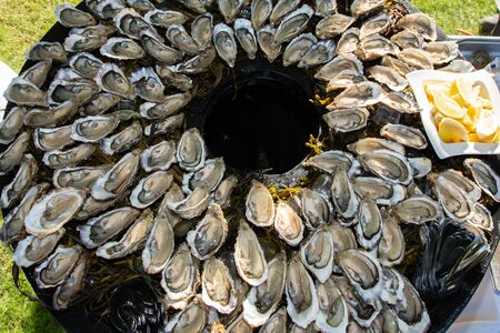 Fresh opened oyster from Oleron in top view during party in Arcachon France