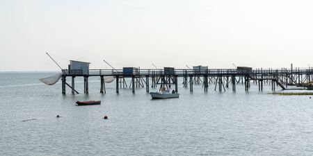 Fishing pontoons in Fouras Charente Maritime France in web banner template header Stock Photo