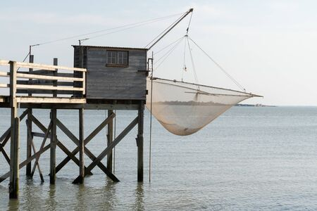 fishing huts net in carrelet Charente Maritime France in Fouras