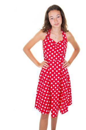 mode meisje 12 jaar oud in rood witte jurk jaren zestig